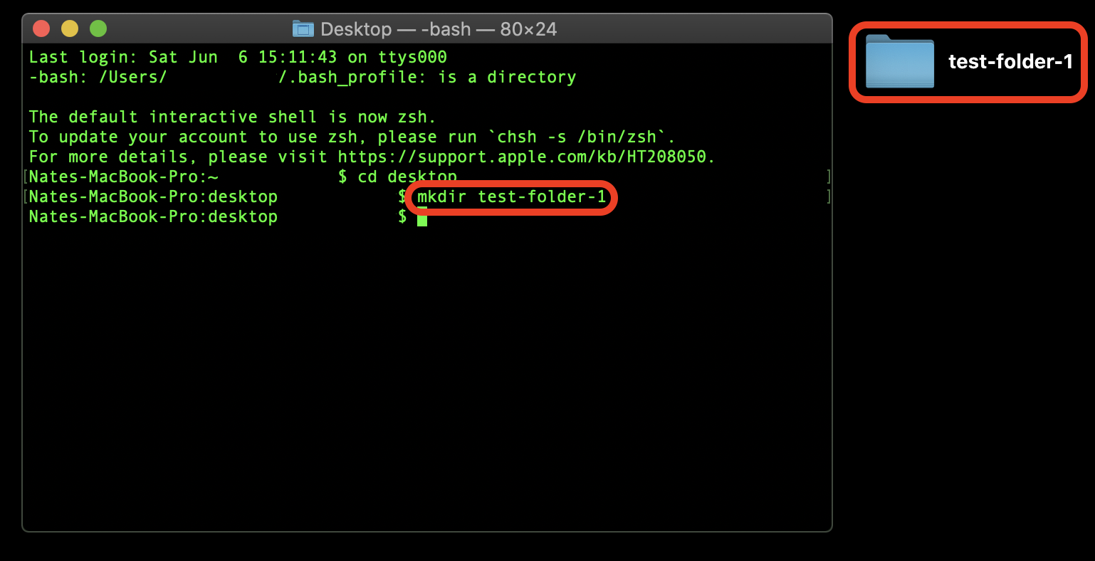 Create a folder via Terminal