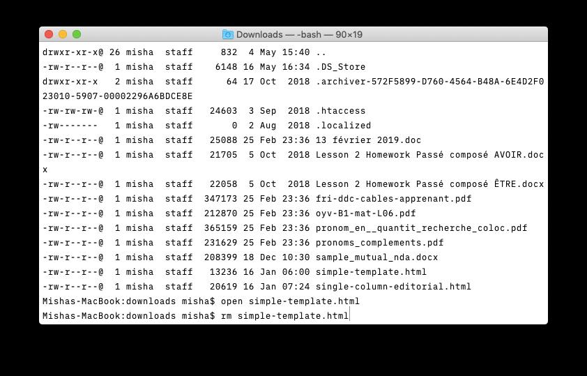 mac terminal delete file