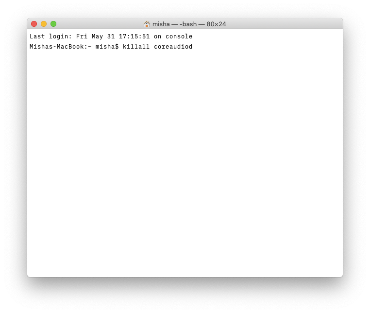 mac terminal killall coreaudiod