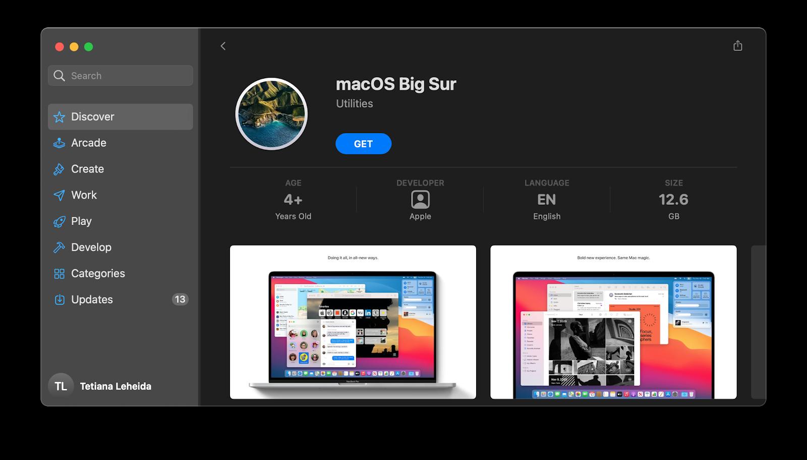 Big Sur installer on Mac App Store