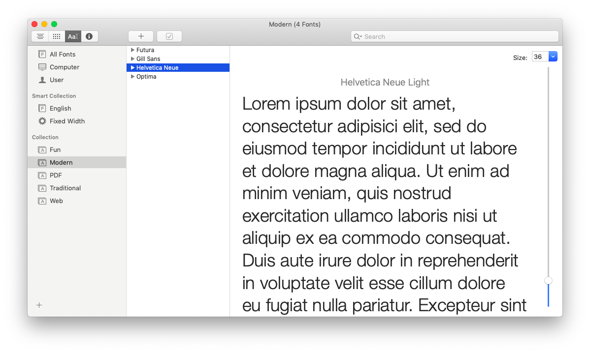manage fonts on Mac