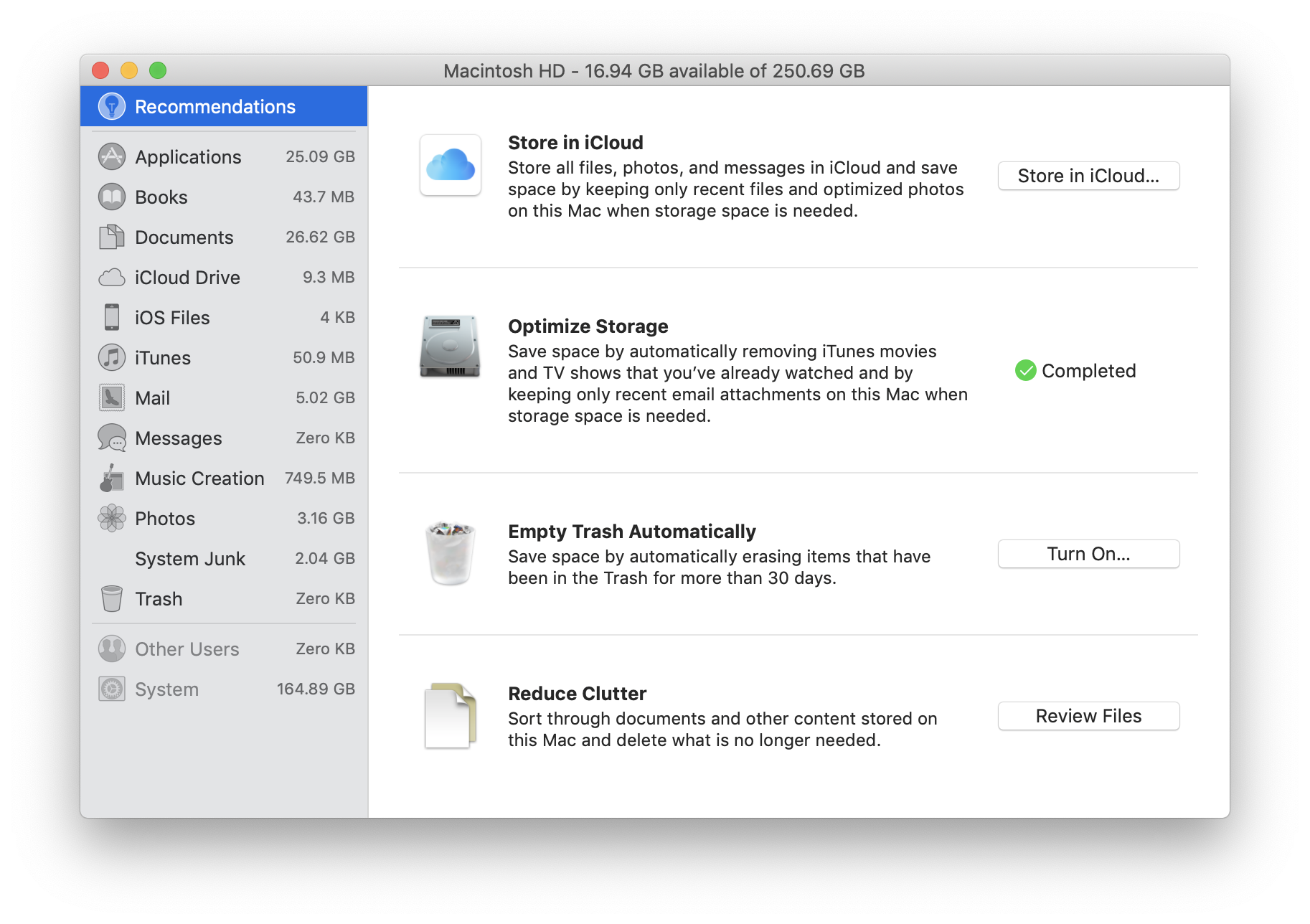 Manage your Mac's Storage space