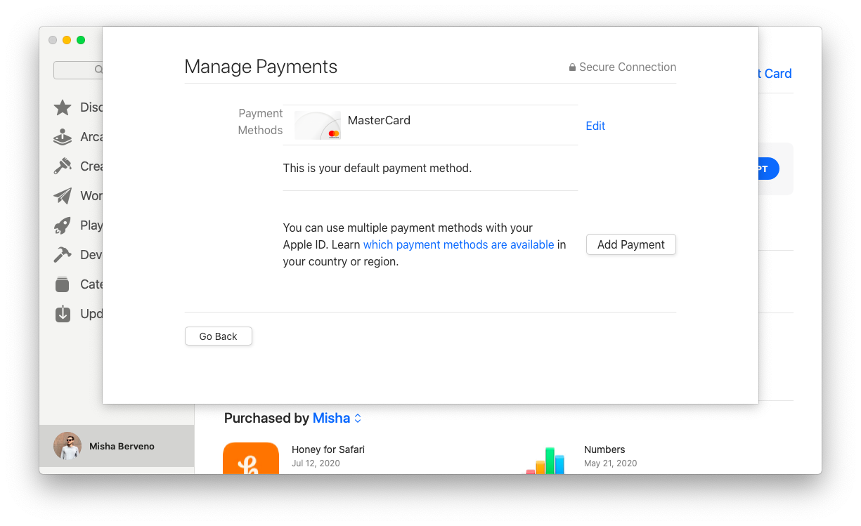 manage payments Apple