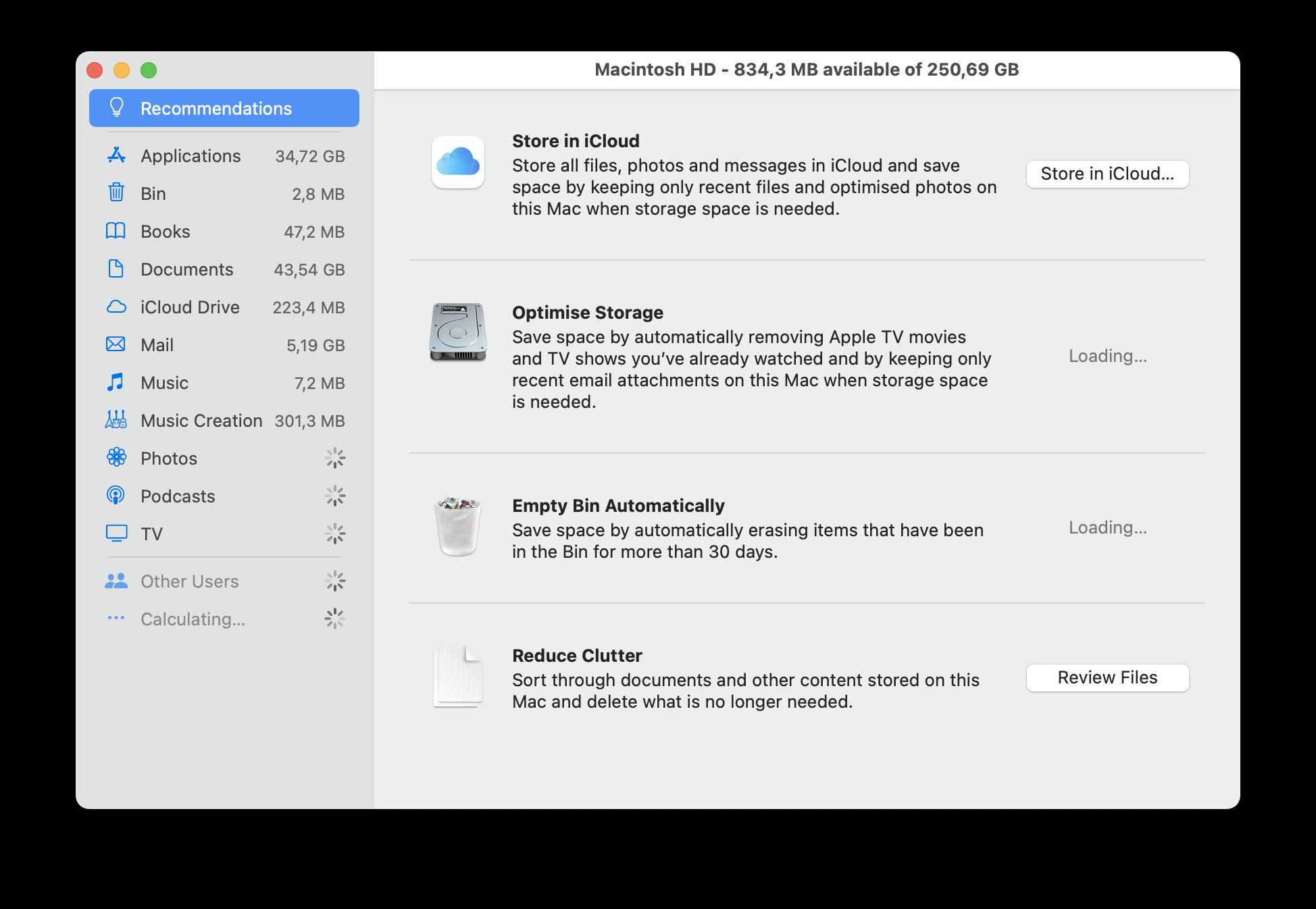Optimize storage in macOS
