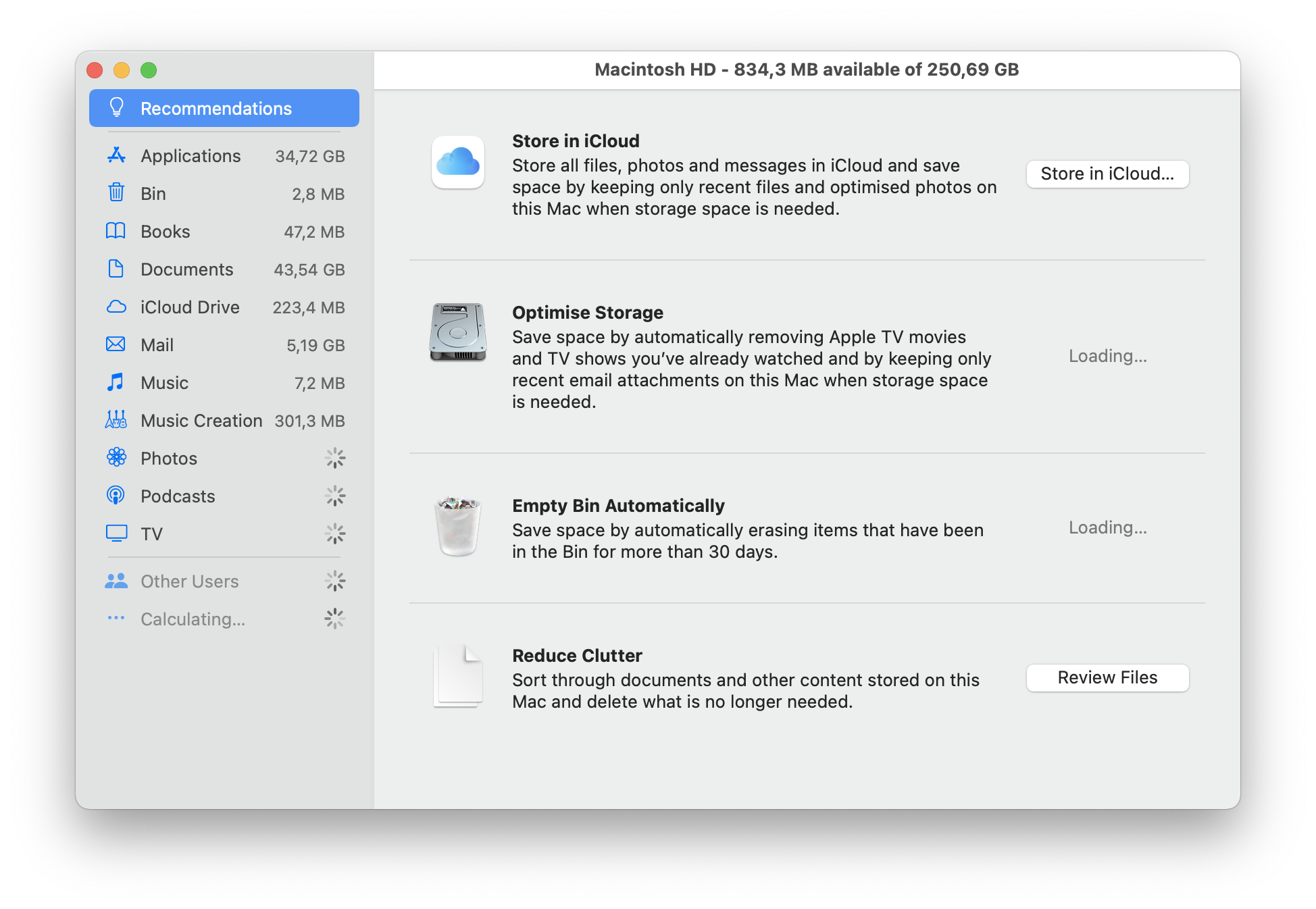 manage storage mac