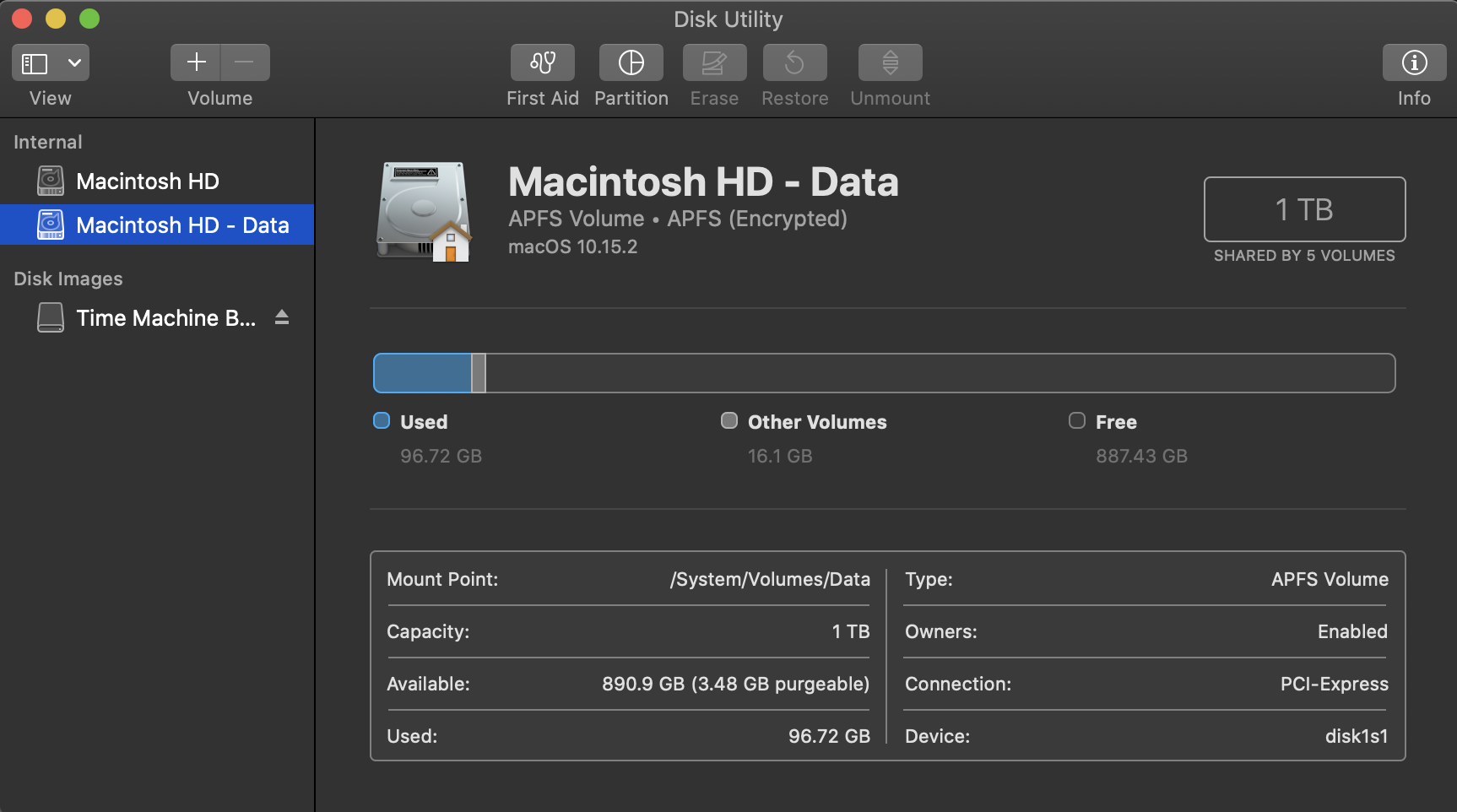 Check storage space with Disk Utility