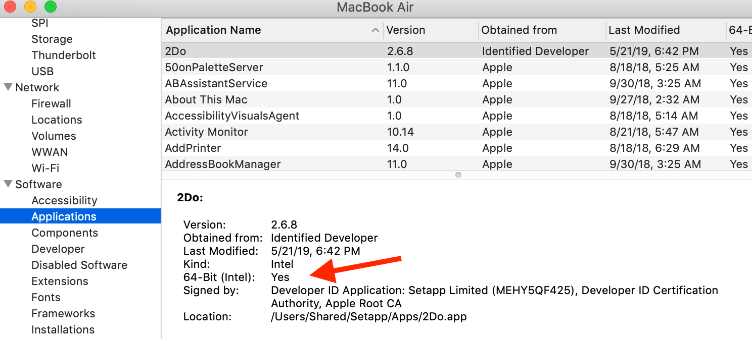 manually scan mac for 32-bit applications