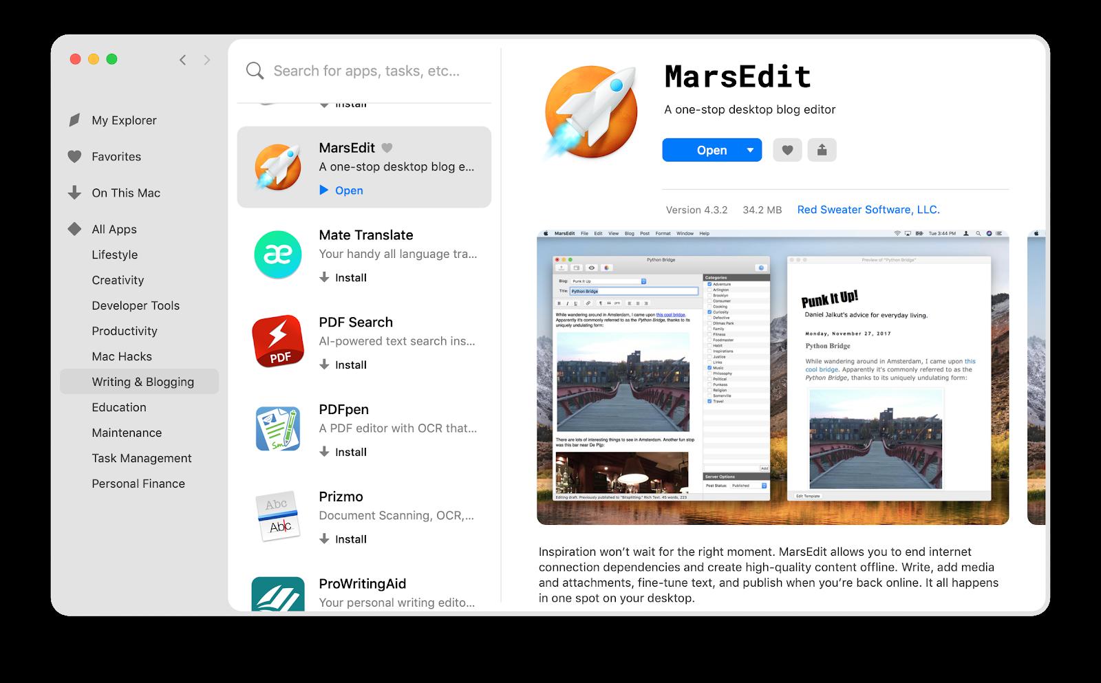 MarsEdit app on Setapp