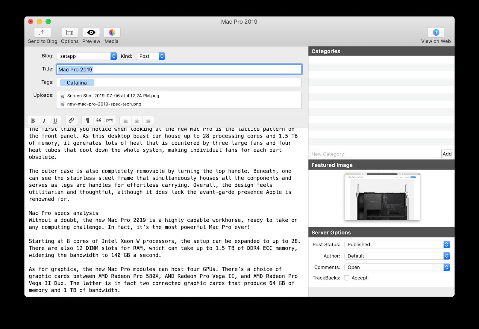 MarsEdit web publishing