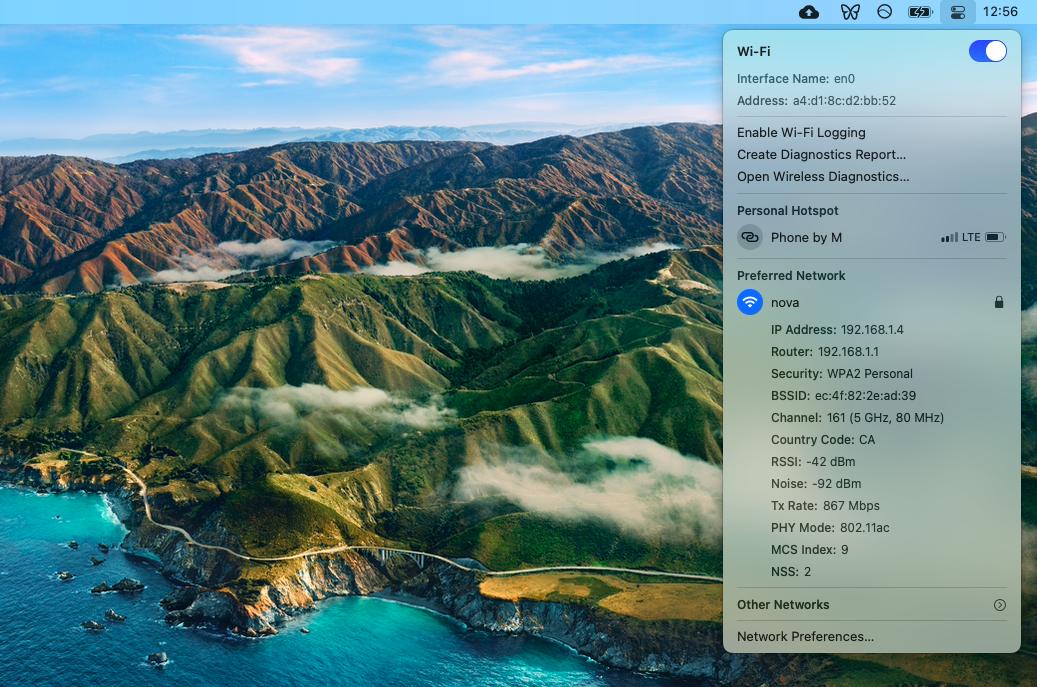 MAC address in WiFi options