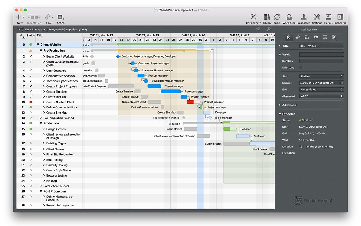 Merlin Project Express, the simple project management app