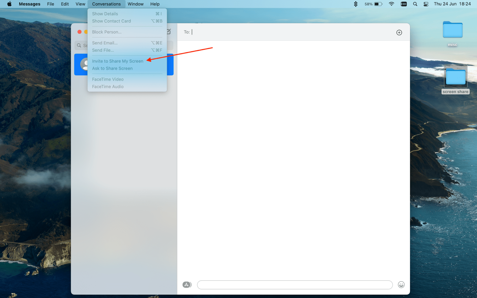 screenshare on a Mac using iMessage