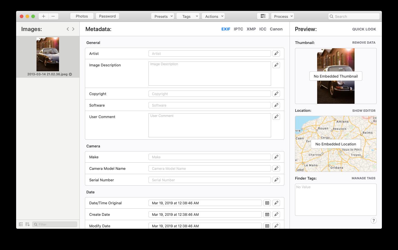 MetaImage metadata Mac add image HEIC