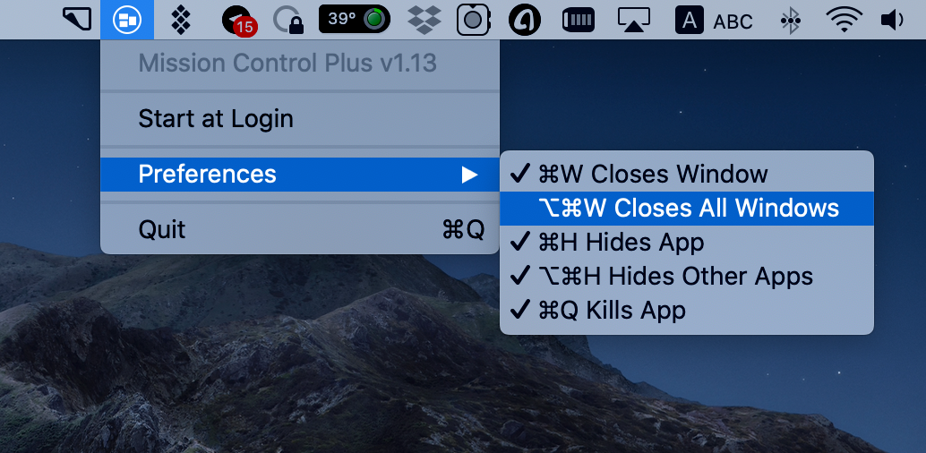 Control windows using keyboard shortcuts