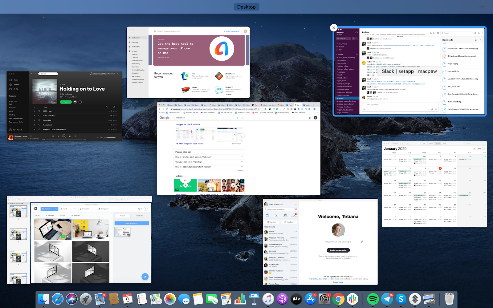 Organize your window from Mission Control