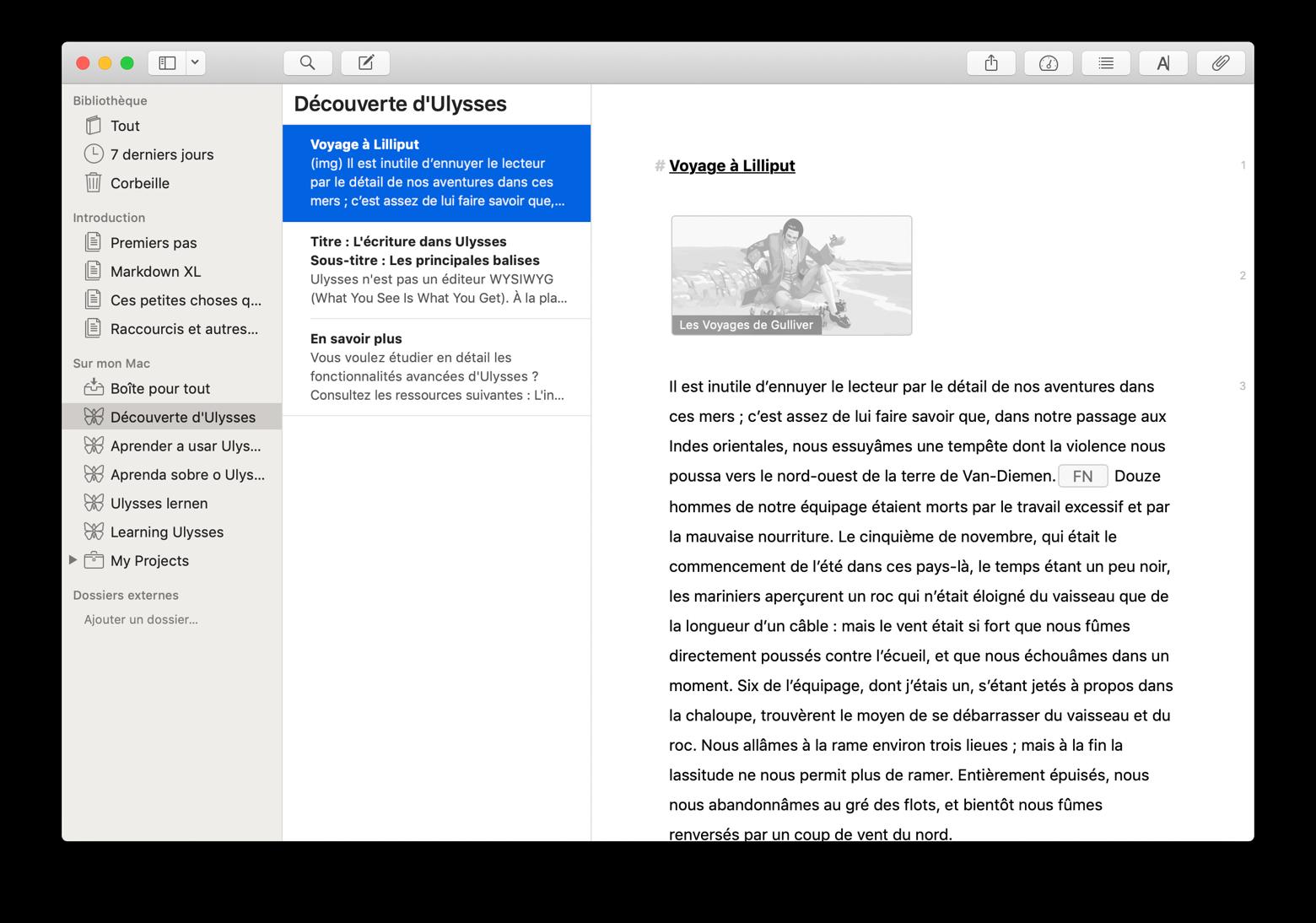Modifier le texte dans Ulysses
