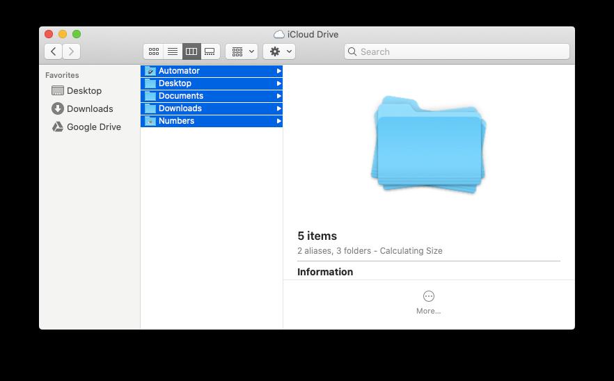 move folders iCloud drive Mac