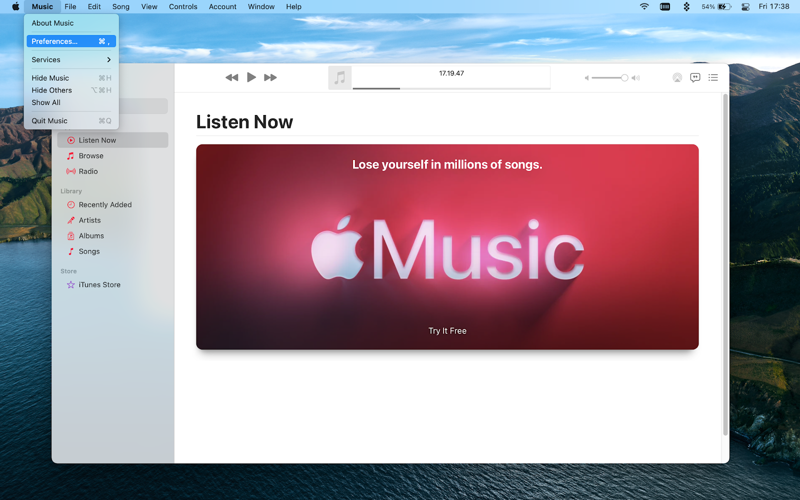 music app preferences