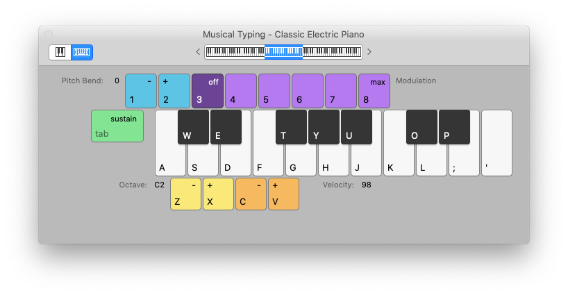 musical typing GarageBand Mac