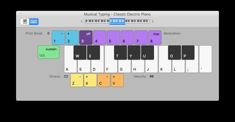 musical typing GarageBand Mac