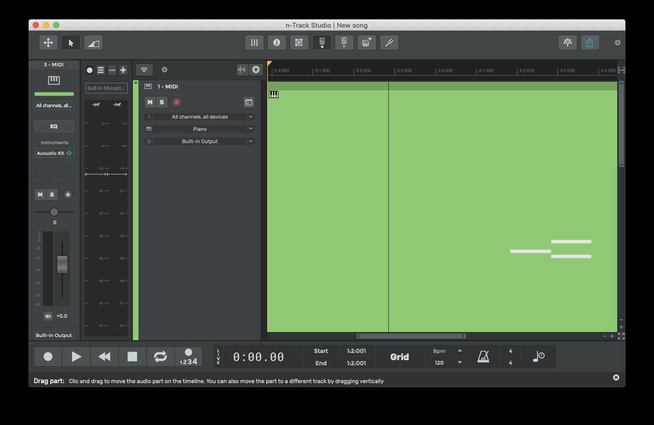 n-Track Studio midi keyboard music Mac