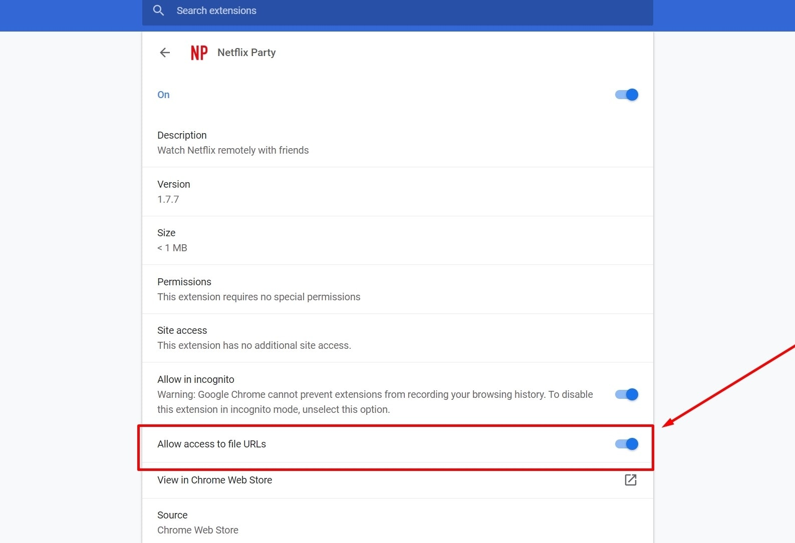 Netflix Party manage extension