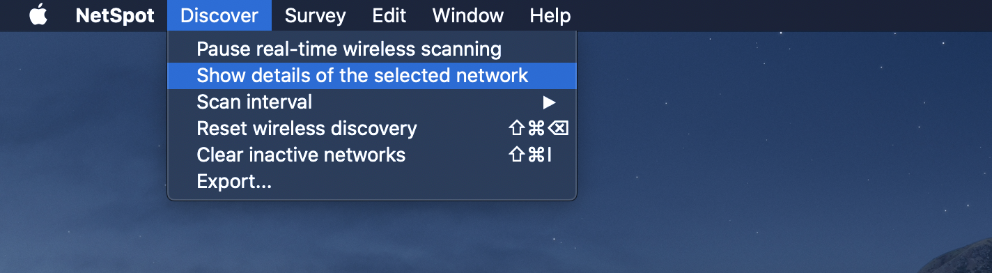 Show details of selected networks