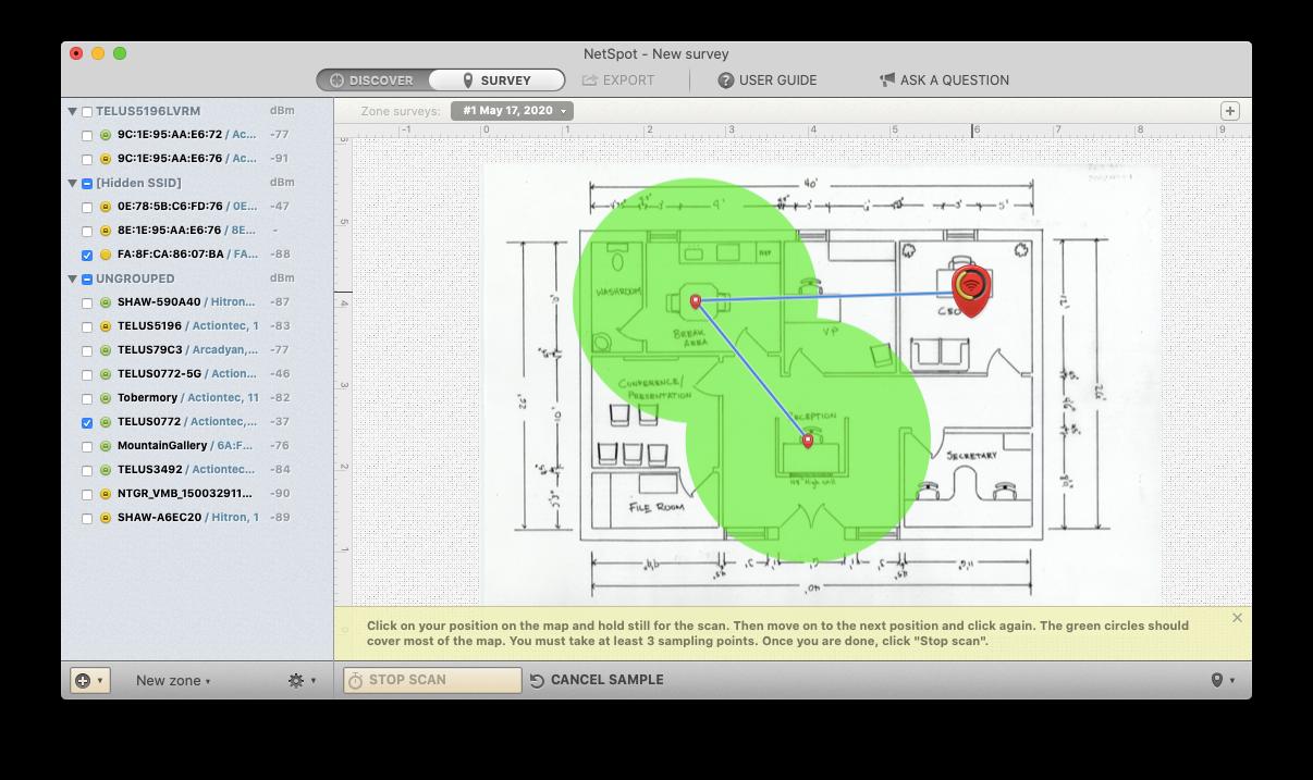 NetSpot WiFi coverage signal check Mac