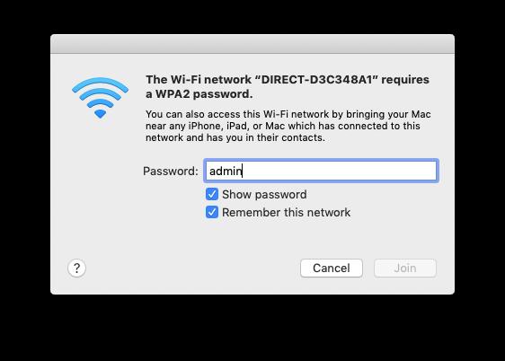 network default password admin