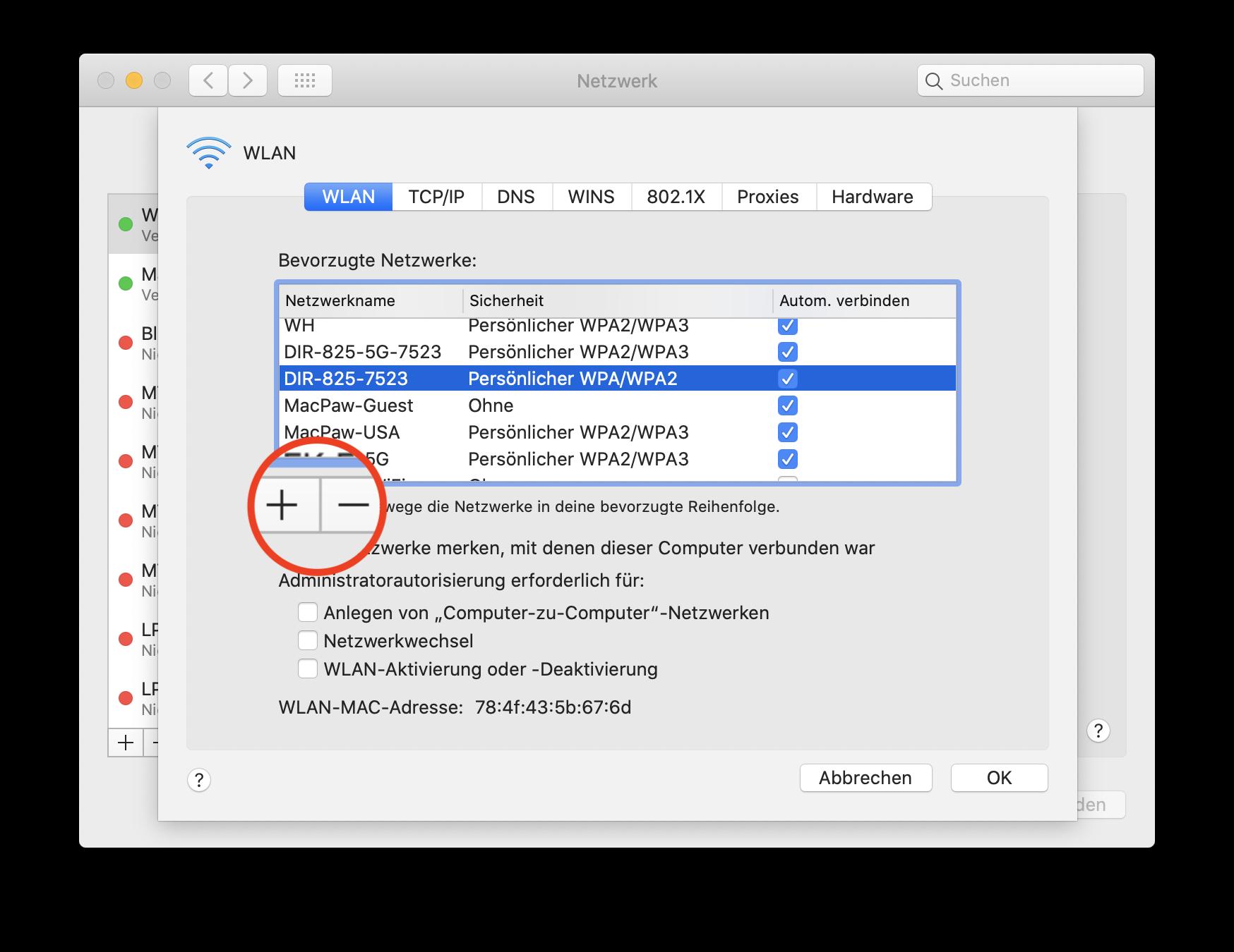 WLAN-Verbindung auf Ihrem Mac verwalten