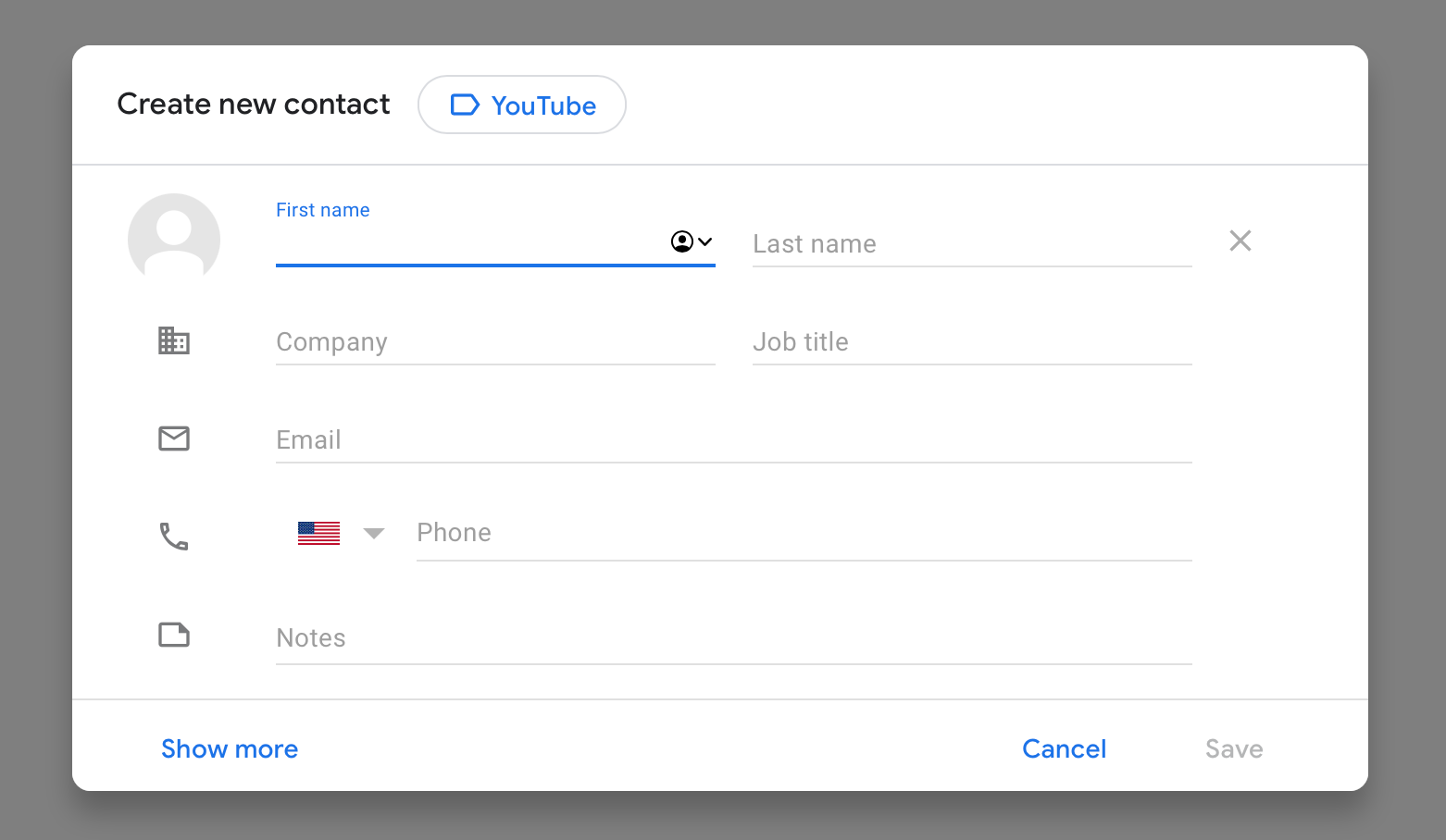 new contact gmail