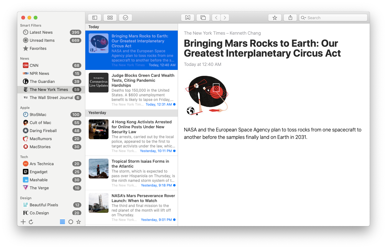 News Explorer app RSS feed Mac