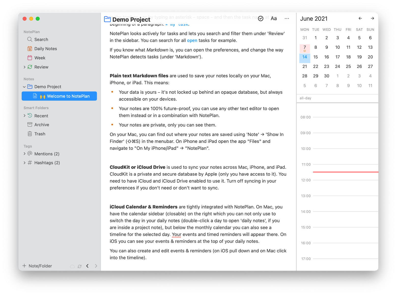 a calendar-based note-taking app with markdown capabilities