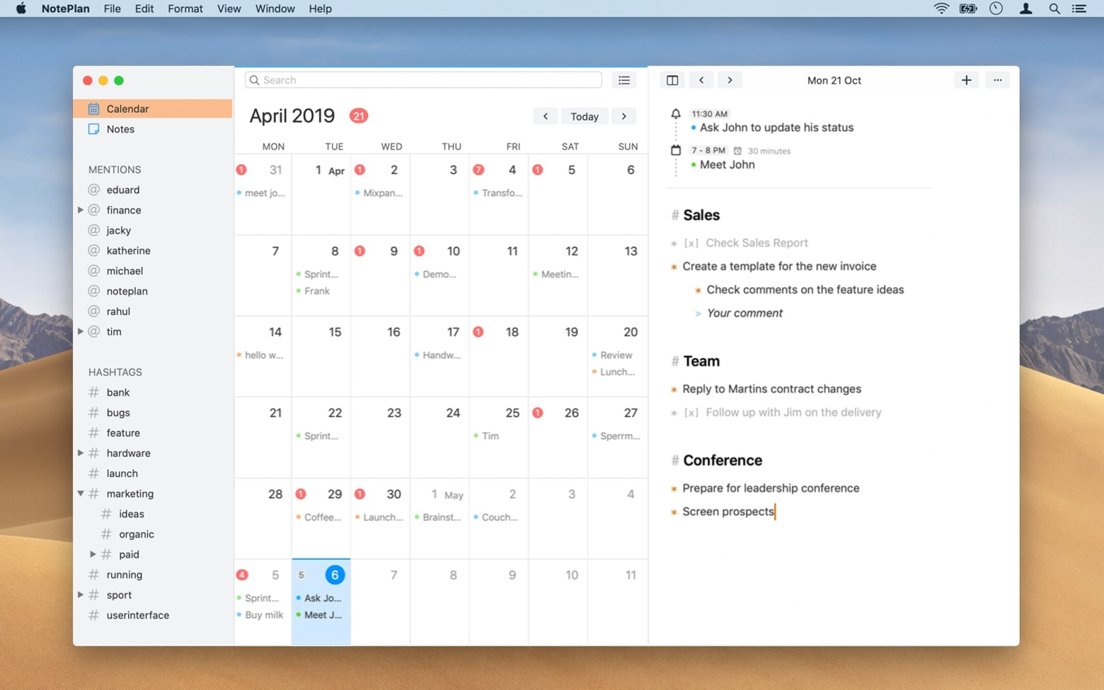 noteplan for time management