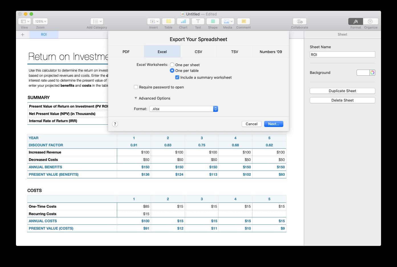 Numbers to Excel export Mac