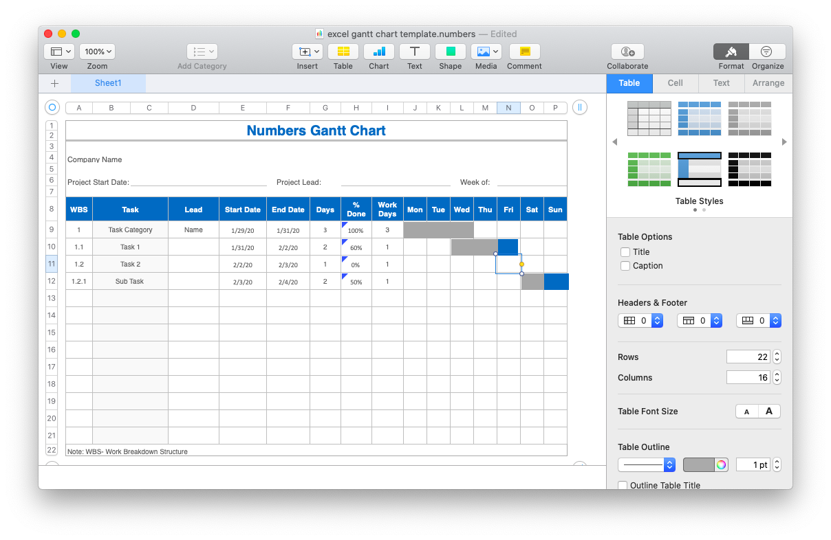 How to make a Gantt Chart in Numbers