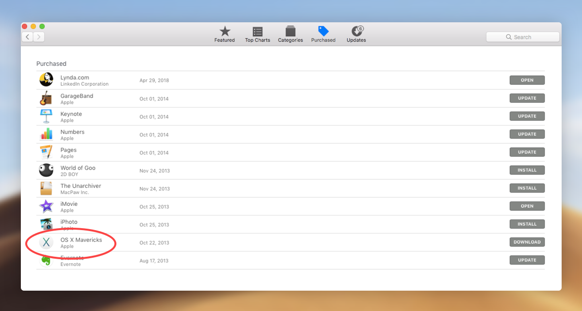 version of OS X