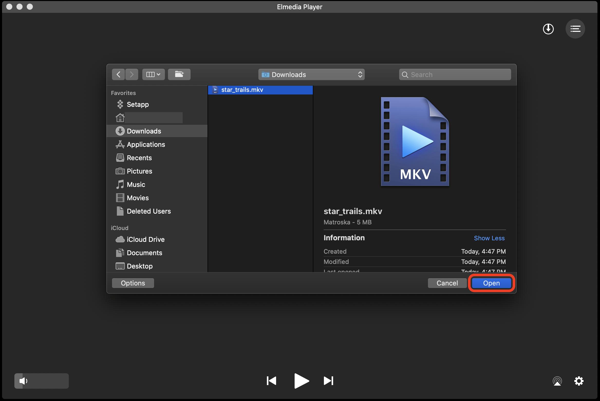 Open MKV files with Elmedia Player