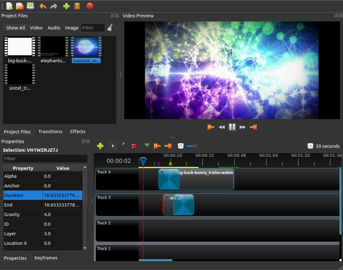 OpenShot editing screenshot