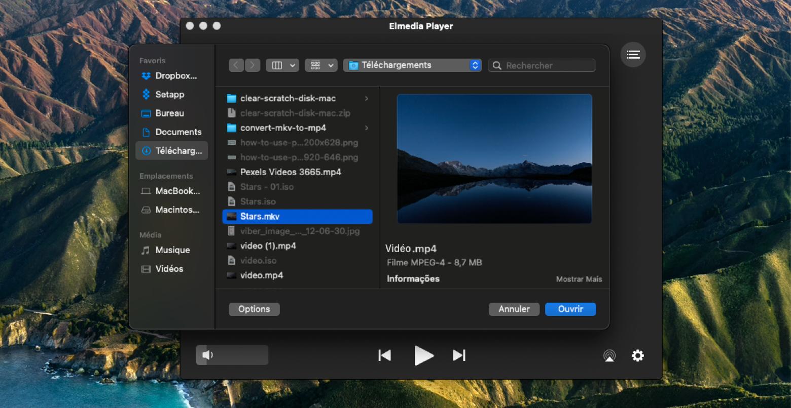 Ouvrir des fichiers MKV avec Elmedia Player