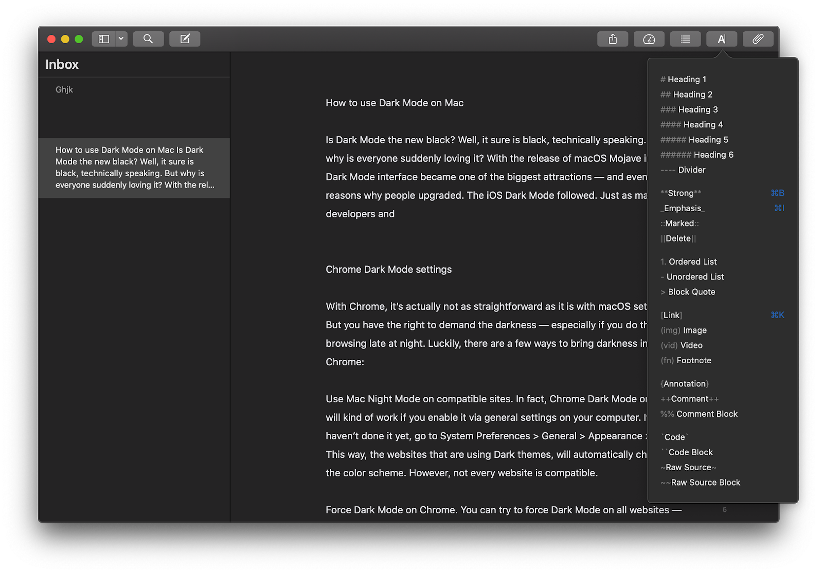 Pages dark mode