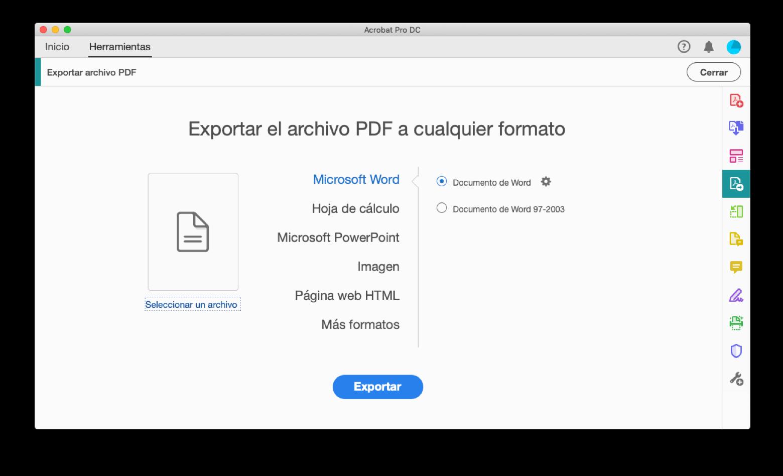 Exportar a partir de un archivo PDF con Adobe Acrobat Pro