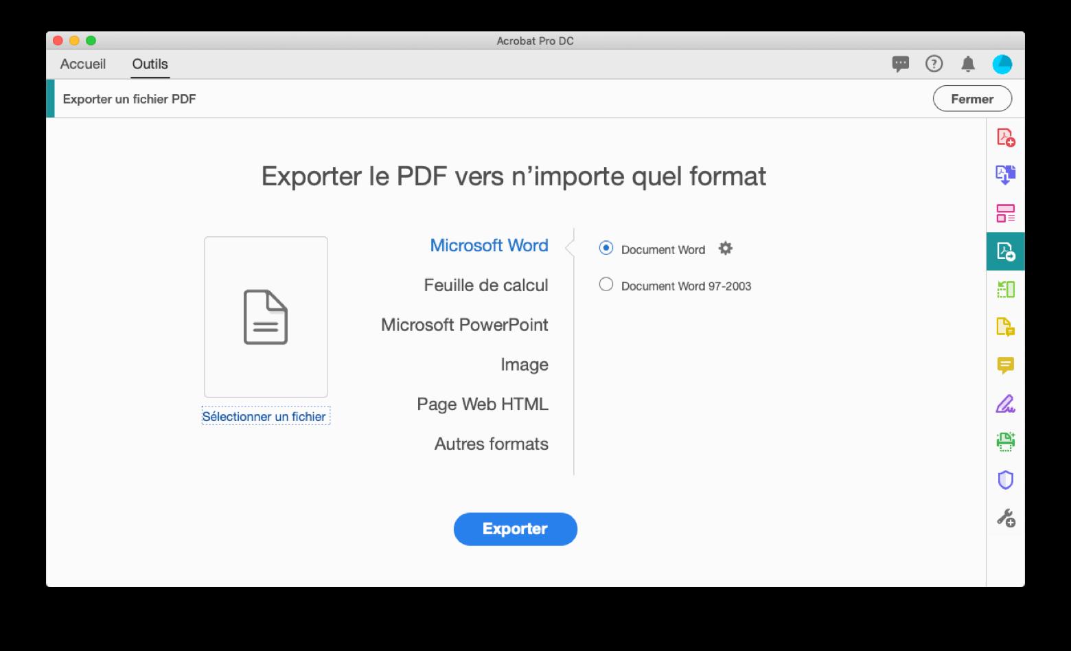 Exporter à partir d'un fichier PDF avec Adobe Acrobat Pro