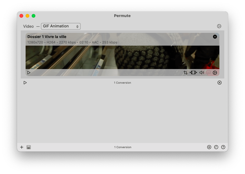 Convert mp4 to gif with Permute