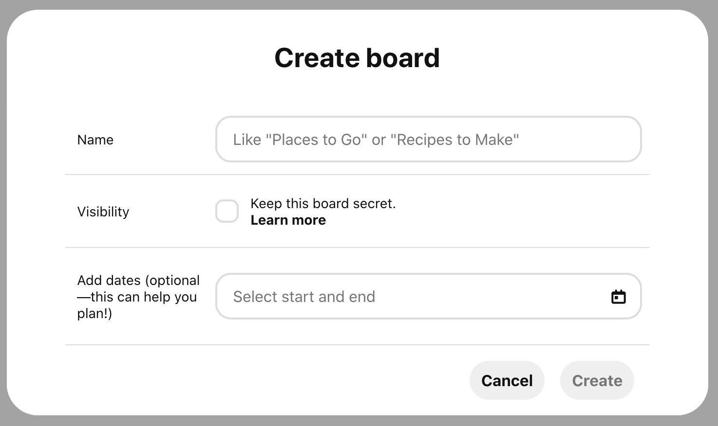 Fill information about your new board