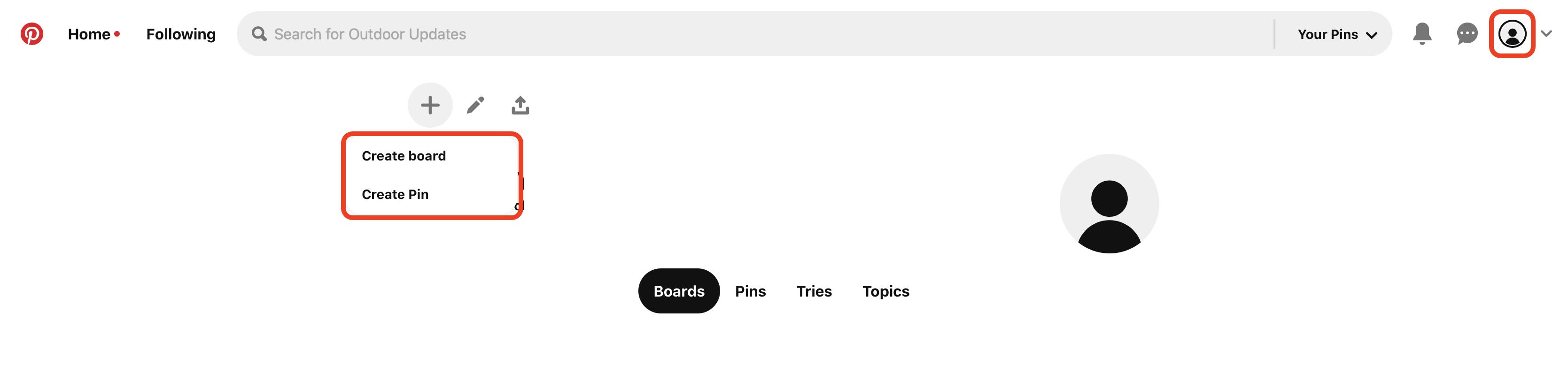 Select Create board or Create pin