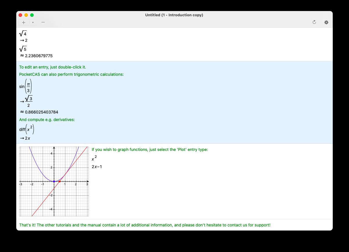 PocketCAS, a math app