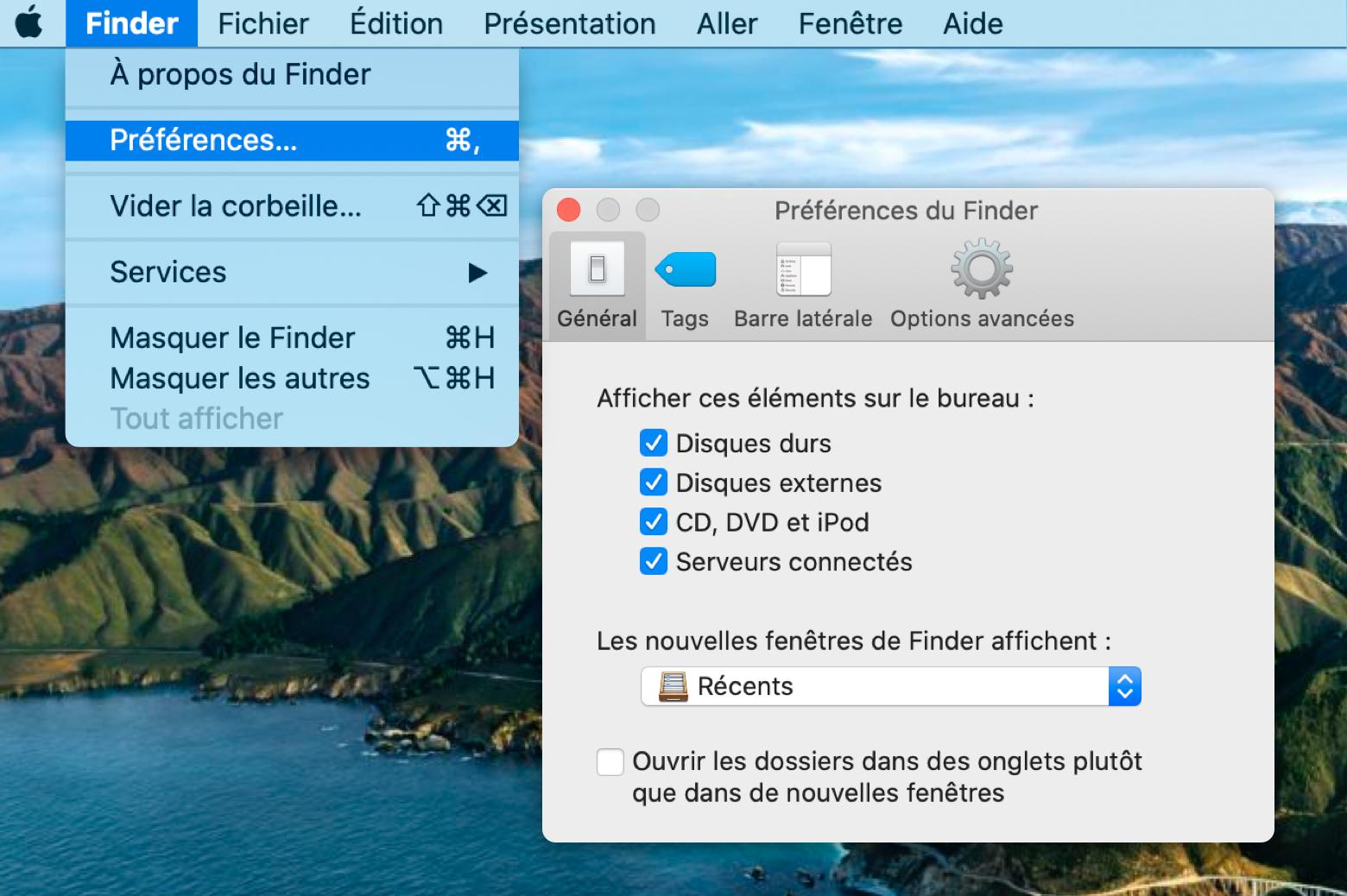 Reconnaître un disque dur externe avec les préférences du Finder