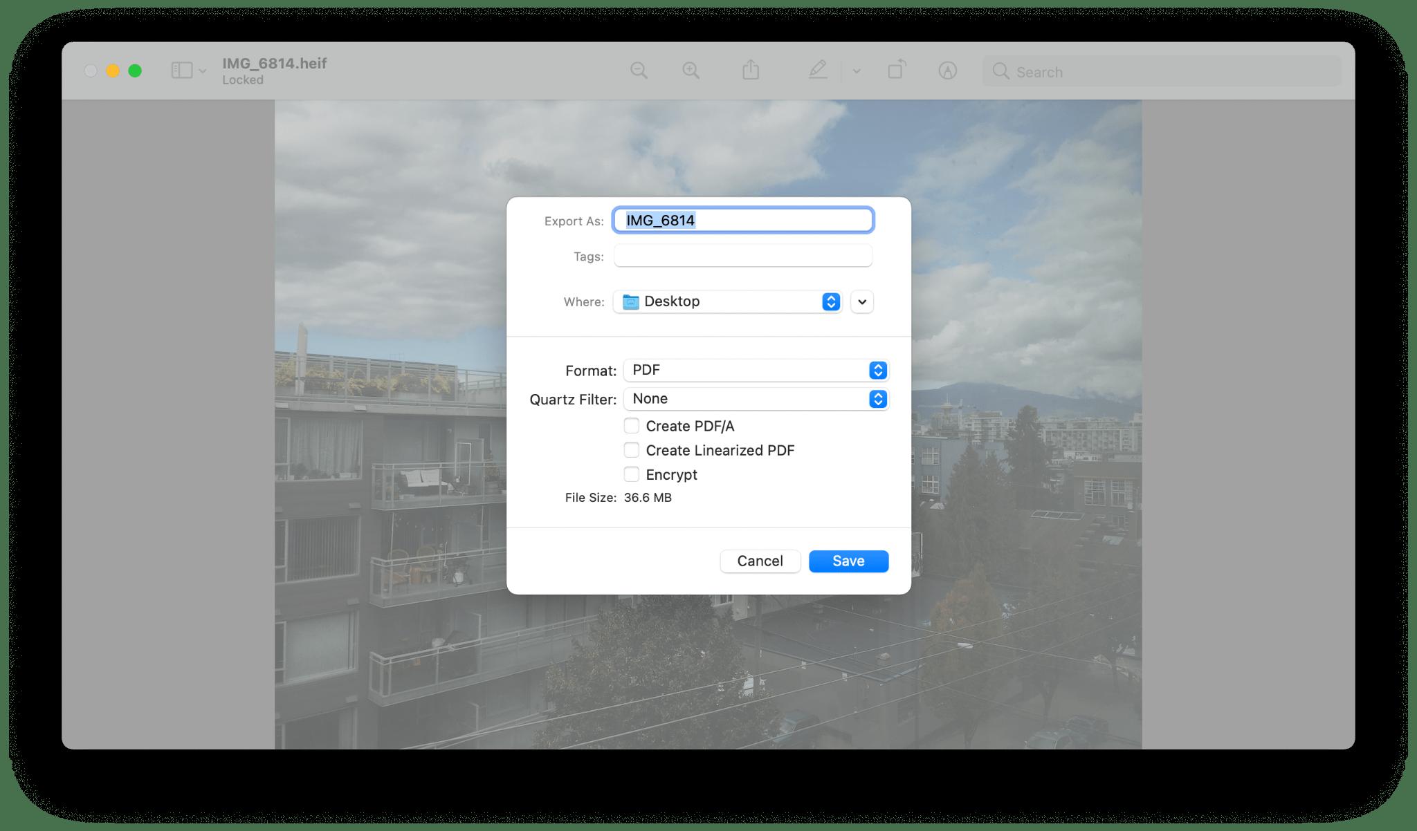 preview convert heic pdf mac