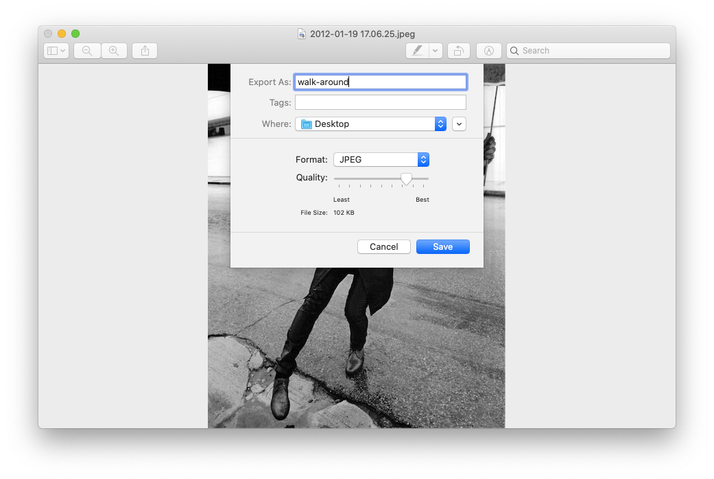 Preview export HEIC JPG Mac